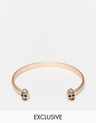 Золотистый браслет-манжета с черепами Chained & Able - Золотой