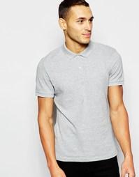 Футболка-поло с отделкой и логотипом на груди DKNY - Серый