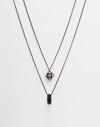 Ожерелье с геометрическим дизайном и полудрагоценными камнями ASOS