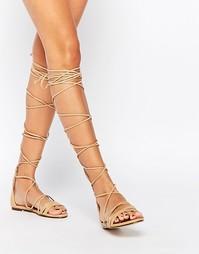 Сандалии-гладиаторы на шнуровке Daisy Street - Телесный