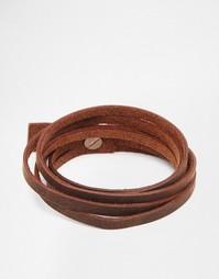 Коричневый кожаный браслет в несколько оборотов ASOS - Коричневый
