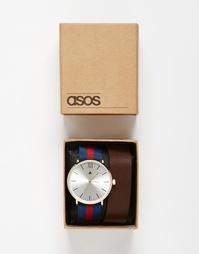 Часы со съемным кожаным ремешком ASOS - Коричневый