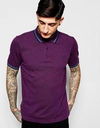 Приталенная фиолетовая футболка-поло с контрастной отделкой Fred Perry