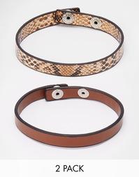 Комплект кожаных браслетов со змеиным принтом ASOS - Коричневый