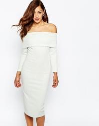 Платье-футляр миди со спущенными плечами ASOS Premium - Черный