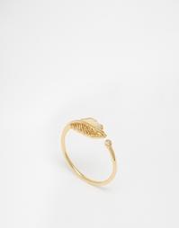 Разомкнутое кольцо с листиком и камнем Orelia - Золотой