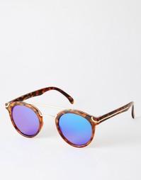 Круглые солнцезащитные очки с металлической переносицей и плоскими сте Asos