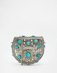 Маленькая сумка через плечо с бирюзовыми камнями From St Xavier