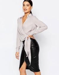 Рубашка с запахом и завязками на боку Missguided - Серый