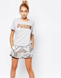 Oversize-футболка бойфренда с розово‑золотистым логотипом Puma - Серый