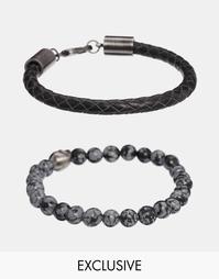 Набор кожаных браслетов c полудрагоценными камнями Simon Carter эксклю