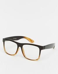 Квадратные очки с прозрачными стеклами в черепаховой оправе Jeepers Pe