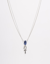 Ожерелье с подвеской-крестиком и полудрагоценным камнем ASOS - Родий