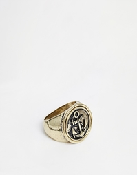 Кольцо с печаткой с изображением якоря ASOS - Золотой