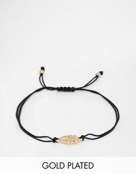 Браслет-фенечка с позолоченным листиком Pilgrim - Золотой