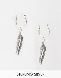 Серебряные серьги-кольца с перьями ASOS - Серебряный
