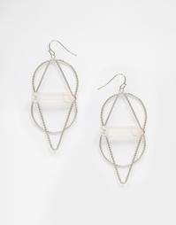 Геометрические серьги с камнями ASOS - Серебряный