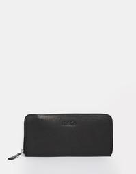 Большой кожаный кошелек на молнии Made - Черный