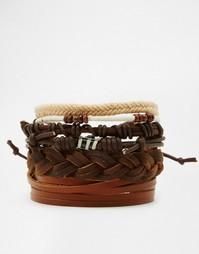 Набор коричневых кожаных браслетов ASOS - Коричневый