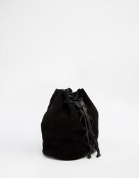 Компактная замшевая сумка дафл с шнуровкой ASOS - Черный