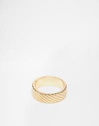 Золотистое фактурное кольцо ASOS - Золотой