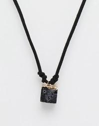 Золотое ожерелье с полудрагоценным камнем ASOS - Черный