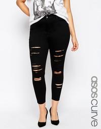 Рваные укороченные джинсы скинни ASOS CURVE Ridley - Черный
