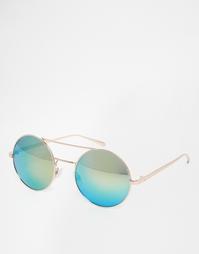 Круглые солнцезащитные очки в металлической оправе с зеркальными стекл AJ Morgan