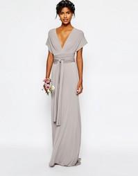 Длинное платье-трансформер с шлейфом TFNC WEDDING - Опаловый серый