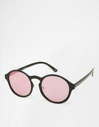 Круглые солнцезащитные очки с плоскими розоватыми стеклами ASOS