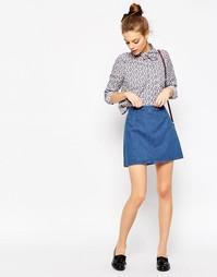Джинсовая юбка-трапеция ASOS - Синий выбеленный