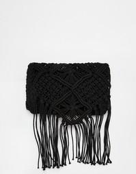 Ажурная сумка через плечо с кисточками South Beach - Черный