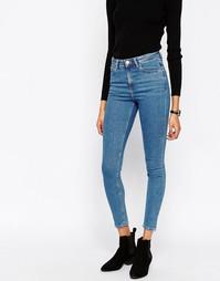 Синие зауженные джинсы скинни с завышенной талией ASOS Ridley