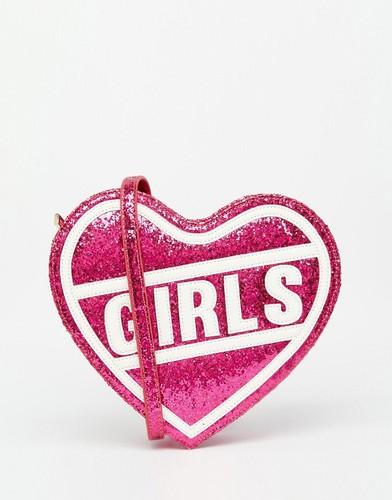 Розовая сумка через плечо в форме сердца с принтом 'Girls' Skinnydip