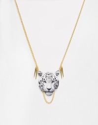 Ожерелье с подвеской в виде головы тигра Suzywan - Белый