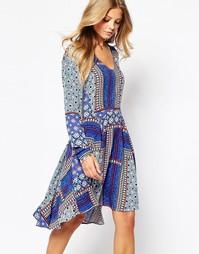 короткое приталенное платье с лоскутным принтом Vila - Мульти