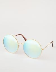 Круглые солнцезащитные очки с голубыми зеркальными линзами ASOS