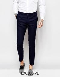 Суперзауженные брюки с тональным принтом Noak - Темно-синий