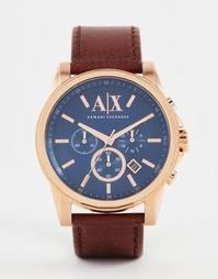 Часы с хронографом и кожаным ремешком Armani Exchange Outerbanks AX250
