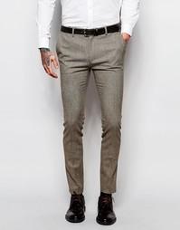 Коричневые суперзауженные брюки с узором гусиная лапка ASOS
