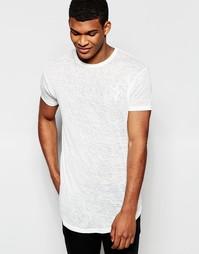 Длинная футболка с выжженным принтом и закругленной кромкой SikSilk