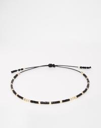 Тонкий фестивальный браслет из бусин ASOS - Черный