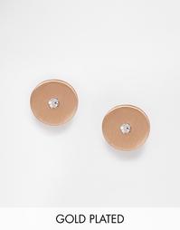 Позолоченные серьги‑гвоздики с кристаллом Pilgrim - Розовое золото