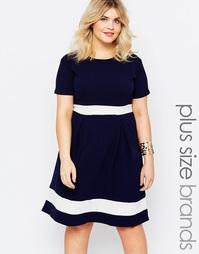 Короткое приталенное платье размера плюс Praslin
