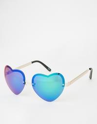 Солнцезащитные очки без оправы с линзами-сердечками ASOS - Золотой