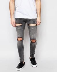 Супероблегающие джинсы SikSilk - Выбеленный серый