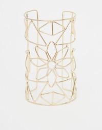 Браслет-кафф с цветочным дизайном ASOS - Золотой