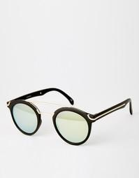 Круглые солнцезащитные очки с металлической переносицей и плоским верх Asos