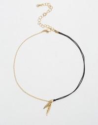Ожерелье-чокер с изящными листиками ASOS - Золотой