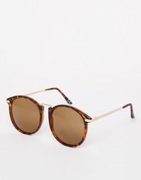 Большие круглые солнцезащитные очки с металлической переносицей ASOS